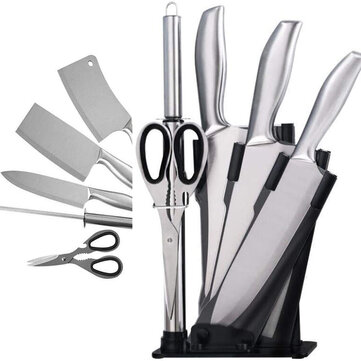 KCASA 6Pcs Acrylic Stainless Steel Kitchen Knife Cleaver Sharpener Scissor Kitchen Tools Stand Set