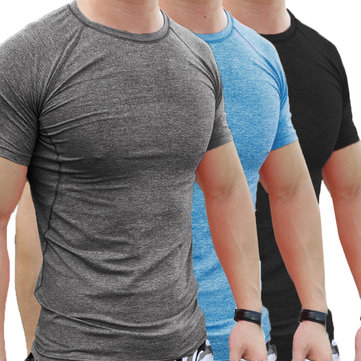 Yaz Erkekler Gym Kas Kısa Kollu Gömlek Vücut Geliştirme Spor Fitnes Aşınma Tayt T-Shirt Tops Bluz