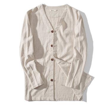 Chaqueta de la capa del otoño del color sólido del estilo chino del V-cuello de lino de algodón para hombre