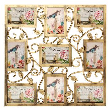 Bronce floral colgante de pared Collage Marcos de fotos Imagen Pantalla Decoración regalo 6X4 pulgadas