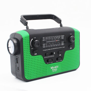 6 In 1 Manual Crank Generator Solar Energy Generation Emergency Charger Light Proble Radio Bluetooth Speaker with TF Card Slot