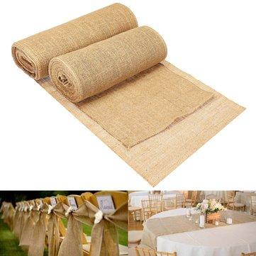 30 / 35cmx10m Rollo de arpillera de yute de arpillera vendimia Table Runner Home Boda Decoraciones