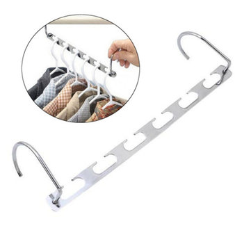 6 Holes Stainless Steel Clothes Rack 2 Hook Clothing Holder Shelf Wall Mounted Hanger