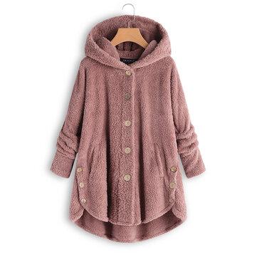 Plus Size Pure Color Hooded Fleece Coats For Women
