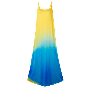 Sexy Women Strap Backless Gradient Color Evening Party Maxi Dress