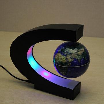 Bản đồ thế giới hình cầu nổi hình chữ C với đèn LED