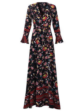OEUVRE Bohemian Kadın V-Neck Çiçekli Baskı Kravat-Belli Bölmeli Sarma Maxi Elbise