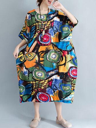 女性ボヘミアンアートプリントバットウィングスリーブサイドポケットドレス