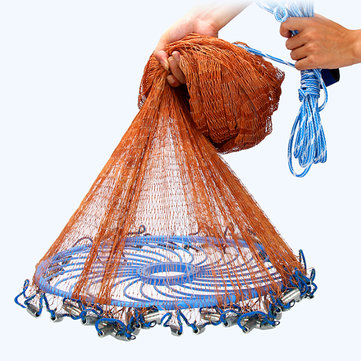 3-4.8m Netting Twine+Steel Hand Throw Cast Net American Style Brown Bait Fishing Network w/Sinker