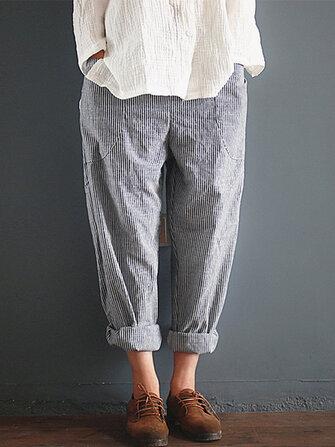 S-5XL Stripe Pocket Elastic Waist Harem Trousers