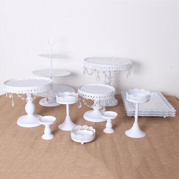 12PCS Vintage Crystal Cake Holder Cupcake Revolving Cake Stand Dessert Platter Display Party