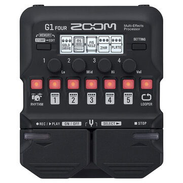 Zoom G1 FOUR/G1X FOUR Guitar Multi-Effects Processor Pedal, With Built-in effects, Amp Modeling, Looper, Rhythm Section, Tuner, Battery Powered