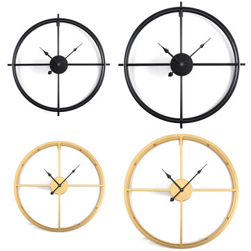 50CM/60CM Double Layer Wall Clock Creative Living Room Round Vintage Wrought Iron Wall Clock