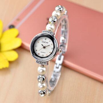 Moda diamentowa elegancka perłowa dama bransoletka zegarek kobiet kwarcowy zegarek