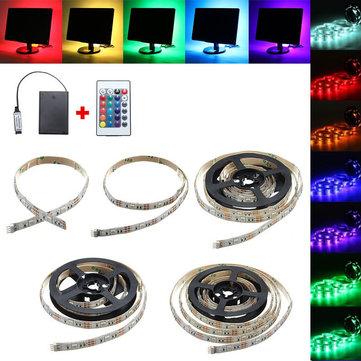 30/50/100/150/200CM 5050 RGB LED Flexible Strip Light + Remote Battery Powered Party Home Decor DC5V
