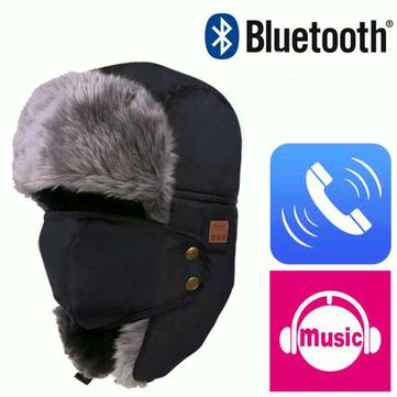 冬の暖かいビーニースキーハットワイヤレスBluetoothスマートキャップヘッドセットヘッドフォンスピーカーマイク音楽