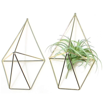2 Pcs Wall Mounted Geometric Flower Stand Wall Hanging Wrought Iron Plant Storage Rack Holder Home Office Decor