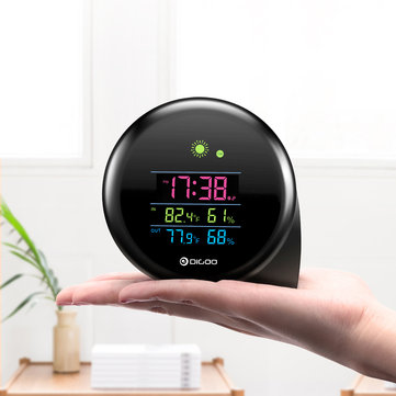 DIGOO DG-THS02 Mini Comma Weather Station Digital LED Screen Indoor Outdoor Thermometer Hygrometer Weather Forecast Daily Clock with Snooze Function Temperature Humidity Sensor