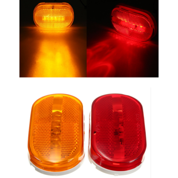 Car Truck Red Yellow Amber 6 LED Beads Rectangle Clearance Side Marker Light Indicator
