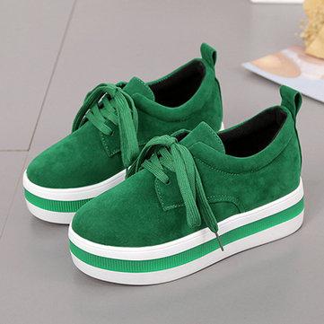 Plattformar Kvinnor Casual Flat Heel Lace Up Shoes