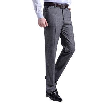 पुरुषों फैशन आरामदायक सूट पैंट वसंत ग्रीष्मकालीन शुद्ध रंग पतला सीधे पतलून