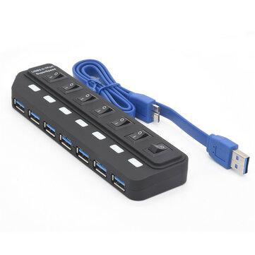 Bakeey 7 Port USB 3.0 Hub 5Gbps Data Transmission 2.4A Current Output Docking Station