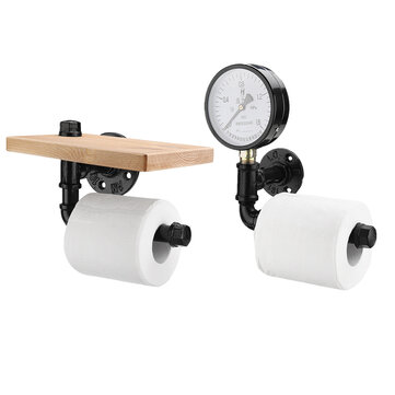 Rustic Industrial Toilet Paper Roll Holder Pipe Shelf Floating Bathroom Home DIY Storage