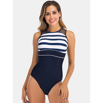 How can I buy Women Striped Print Mesh Back Closure Backless Stretchy Swimwear with Bitcoin
