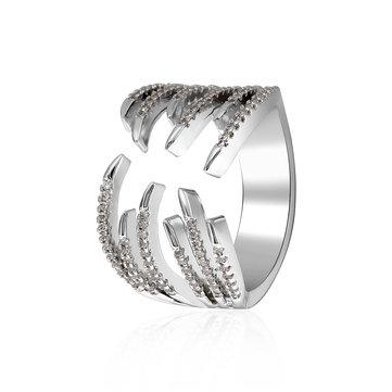 Trendy Platinum Plated Rhinestones Women Gift Ring