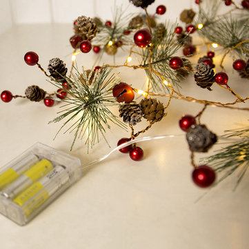 2M 20LED Red Berry Pinecone Warm White Battary Operated LED Christmas Holiday String Light DC4.5V