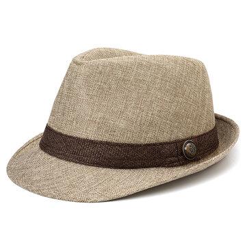 Men Oudoor Casual Fashion British Straw Hat Linen Jazz Hat Sunshade Hat