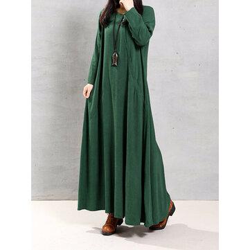 Vintage Women Cotton O-Neck Solid Color Irregular Hem Maxi Dress