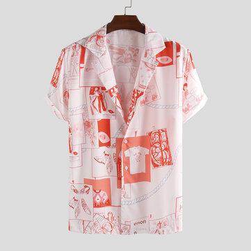 Mens Fashion Roligt tryckt sommar andas på fritidskjortor