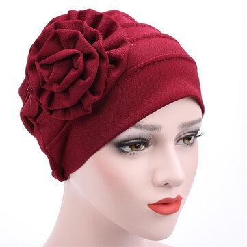 Phụ nữ Hoa Bông Beanies Mũ ấm Mũ giản dị Hồi giáo Mũ giản dị