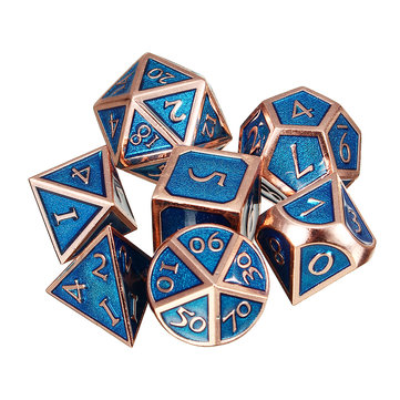7Pcs Polyhedral Dices Antique Metal Multisided Dice Set Role Playing Gadget Dice