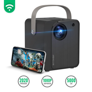 BlitzWolf® BW-VP7 5000 Lux Mini LED Wifi Projector Wireless Screen Mirroring 1080P 170'' Display Supported Portable Outdoor Movie Projector Compatible with Smartphone PS4 TV Box HDMI USB AV Theater Projector