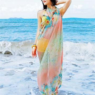 महिला वसंत ग्रीष्मकालीन ओवरराइज्ड प्रिंटिंग स्कार्फ सनस्क्रीन शिफॉन स्कार्फ शॉल बीच तौलिया