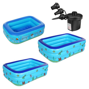 1.2/1.3/1.5m Inflatable Swimming Pool Family Kids Outdoor Garden Paddling Pool Inflator Blow Up Pool Air Pump
