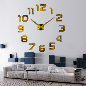 3D Frameless Wall Clock Modern Mute Large Mirror Surface DIY Room Home Office Decorations
