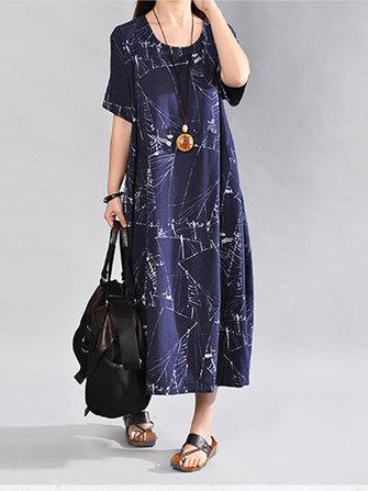 Vintage Women Printed Dresses Loose Short Sleeve O-Neck Dress