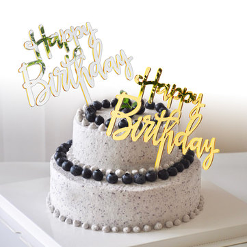Pleasant Acrylic Mirror Happy Birthday Gold Silver Birthday Cake Topper Funny Birthday Cards Online Alyptdamsfinfo