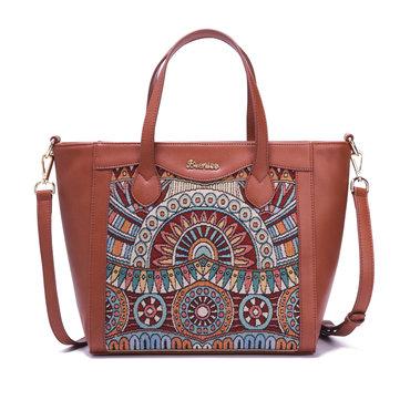 Brenice Embroidery Tote Handbags Vintage Flowers Shoulder Crossbody Bags