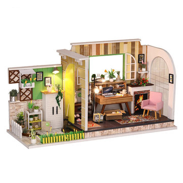 iiecreate H-001 DIY Doll House Gothenburg Studio With Furniture Music Light Cover 30*12*16.2CM Gift