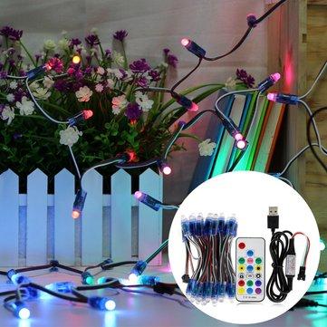 50PCS 5M 21W WS2811 IP68 Full Color RGB LED Pixel Module Strip Light with 17keys Remote Control DC5V