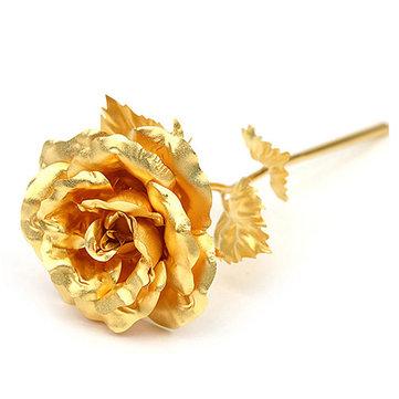 24K Gold Foil Rose Valentine's Day Gift Romantic Blue Purple Golden Delicate Hair Dressing Roses Flower