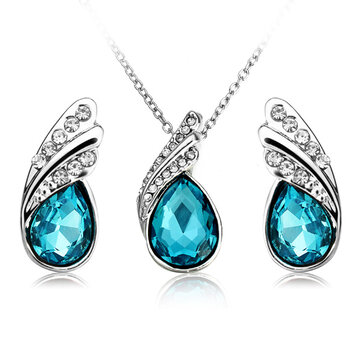 Crystal Water Drop Necklace Earrings Jewelry Set Silver Plated Jewelry Gift for Women