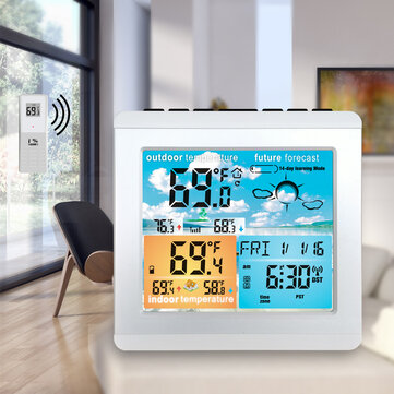 Buy Loskii CJ5528-14DAY LCD RF Wireless Weather Station Table Alarm Clock Calendar 12/24 Hours Indoor/Outdoor Temperature Color Screen Display with Outdoor Sensor with Litecoins with Free Shipping on Gipsybee.com
