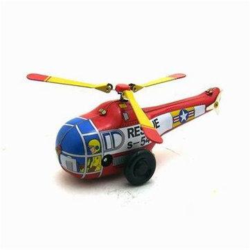 Classic Vintage Clockwork Little Helicopter Nostalgic Wind Up Children Kids Tin Toys With Key