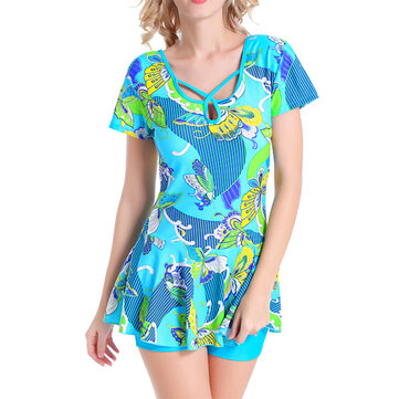 Plus Size L-4XL Floral Printing Wire Free One-piece Swimdress Elastic U Collar Swimsuit For Women