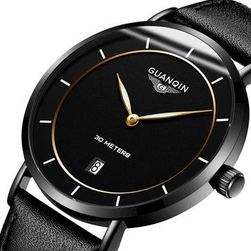 GUANQIN GS19070 Classic Luxury Simple Design Läder Watch Band Mode Men Kvarts Armbandsur